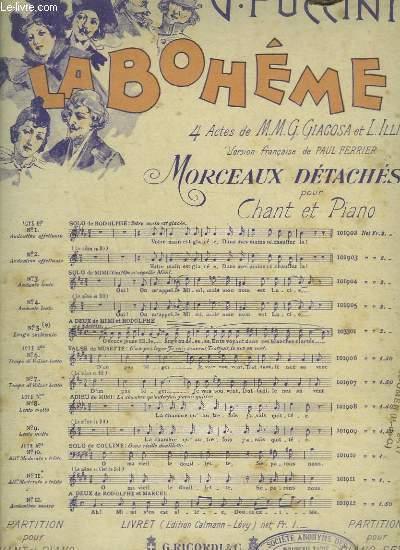 LA BOHEME N°3 - ACTE 1° SOLO DE MIMI : OUI ! ON M'APPELLE MIMI - PIANO CHANT EN DO.