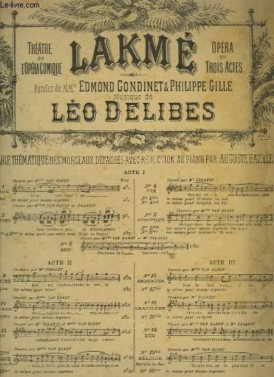 LAKME - N°5 : STROPHES POUR PIANO ET CHANT.
