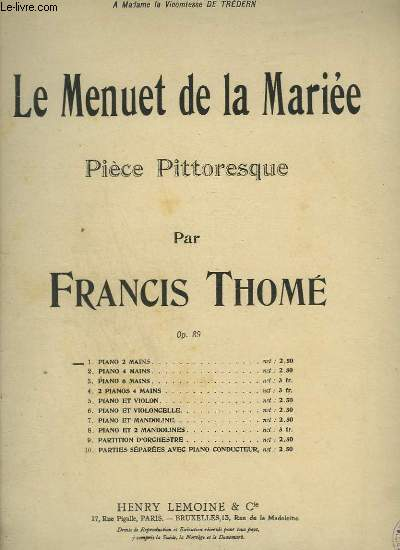 LE MENUET DE LA MARIEE - PIECE PITTORESQUE POUR PIANO A 2 MAINS.