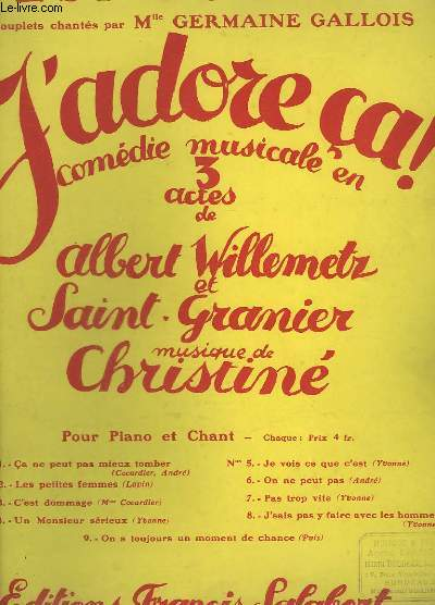 C'EST DOMMAGE - PIANO ET CHANT - J'ADORE CA N°3.