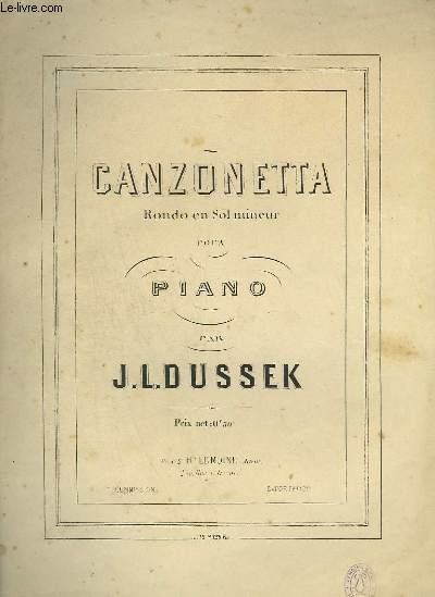 CANZONETTA - RONDO EN SOL MINEUR POUR PIANO.
