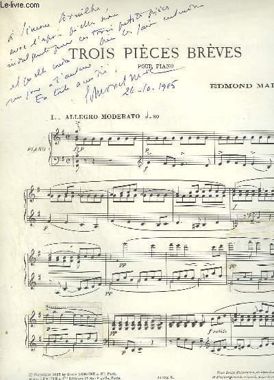 TROIS PIECES BREVES POUR PIANO - ENVOI.