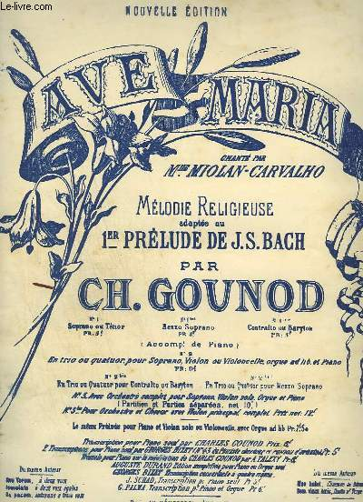 MELODIE RELIGIEUSE N°1 TER : AVE MARIA - PIANO ET CHANT.