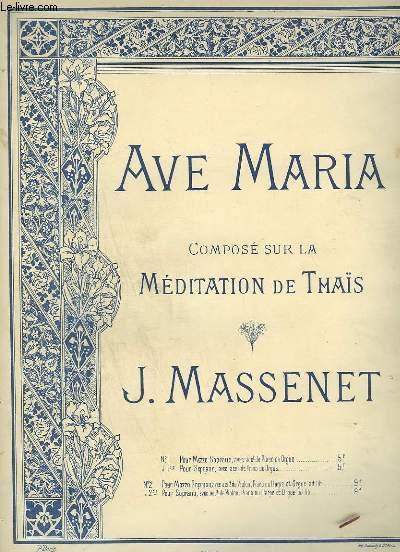 AVE MARIA - N°1 : PIANO ET CHANT POUR MEZZO SOPRANO - TON ORIGINAL.