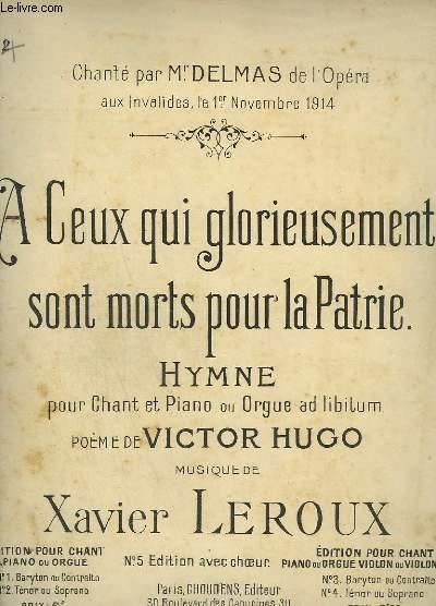 A CEUX QUI GLORIEUSEMENT SONT MORTS POUR LA PATRIE - HYMNE POUR ORGUE + VIOLON + VIOLONCELLE + PIANO / CHANT.