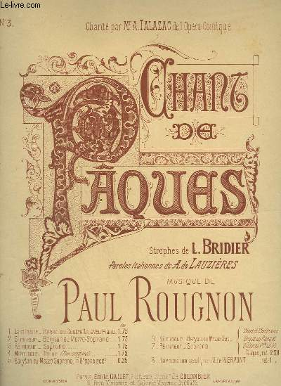 CHANT DE PAQUES - PIANO ET CHANT SOPRANO.