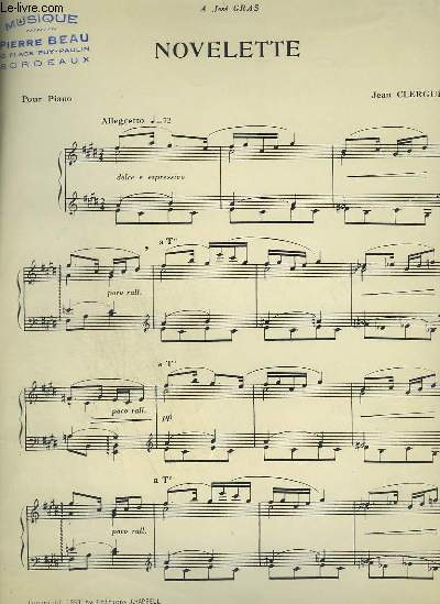 NOVELETTE - POUR PIANO.