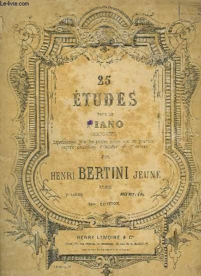 25 ETUDE POUR LE PIANO - 1° CAHIER : 25° ETUDE INCOMPLETE.