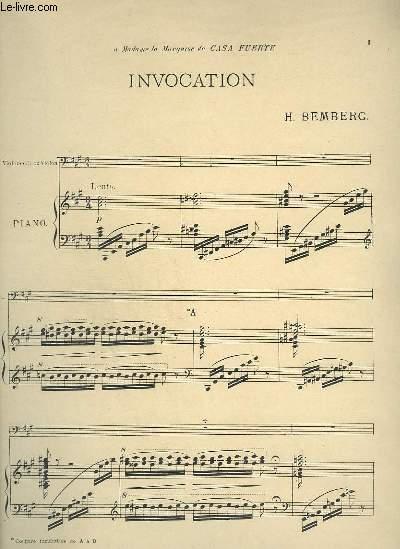 INVOCATION - PIANO + VIOLONCELLE OU VIOLON.