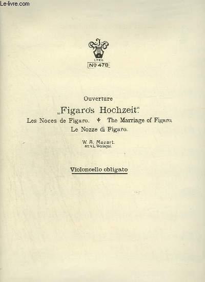 FIGARO'S HOCHZEIT / LES NOCES DE FIGARO / THE MARRIAGE OF FIGARO / LE NOZZE DI FIGARO - PIANO + VIOLONCELLO + FLAUTO 1 + TROMBONE + CLARINETTO 1 IN A + HARMONIUM + BASSO + OBOE 1 + VIOLINO 1.