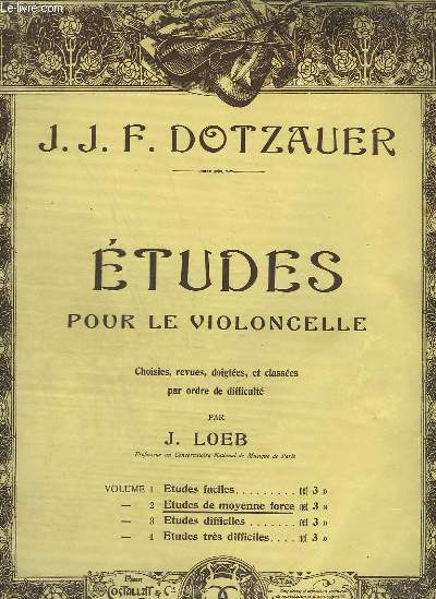 ETUDES POUR LE VIOLONCELLE - VOLUME 2 : ETUDES DE MOYENNE FORCE.