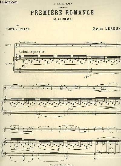 PREMIERE ROMANCE - POUR PIANO ET FLUTE.
