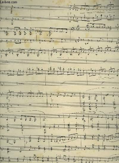 PARTITION MANUSCRITE : MARCHE POUR PIANO + SONS DE COR : TANNHEUSER.