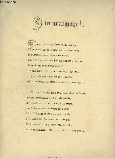 SI TU M'AIMAIS ! - MELODIE N°2 CON MOTO + CANTO - PAROLES FRANCAISES ET ITALIENNES.