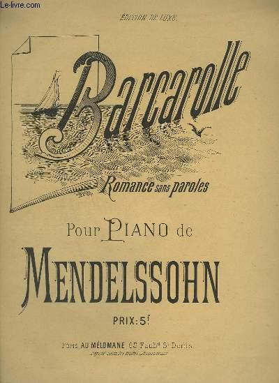 BARCAROLLE - ROMANCE SANS PAROLES POUR PIANO.