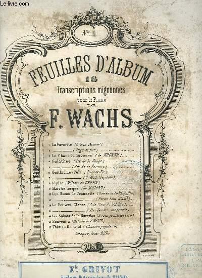 FEUILLES D'ALBUM - GALATHEE N°4 SA COULEUR EST BLONDE ET VERMEILLE POUR PIANO.