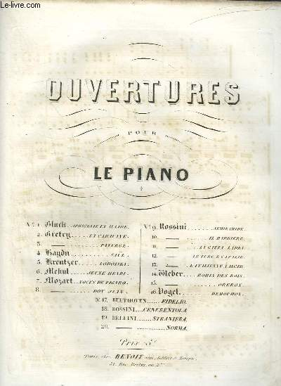 OUVERTURE DE DOM JUAN POUR PIANO ET VIOLON.