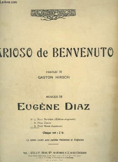 ARIOSO DE BENVENUTO - N°5 TER POUR PIANO ET CHANT POUR BASSE CHANTANTE.