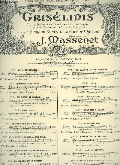 GRISELIDIS - N°7 : LOIN DE SA FEMME QU'ON EST BIEN ! - PIANO + CHANT.