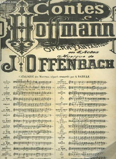 LES CONTES D'HOFFMAN - OPERA FANTASTIQUE N°13 TER POUR PIANO ET CHANT A 1 VOIX.