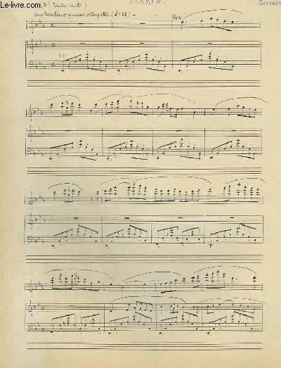 PARTITION MANUSCRITE : CARMEN 2° ENTR'ACTE - PIANO ET FLUTE.