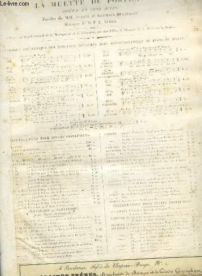 LA MUETTE DE PORTICI - CAVATINE N°13 POUR PIANO ET CHANT.
