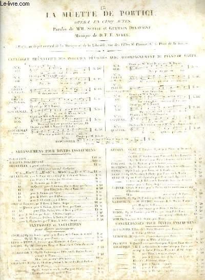 LA MUETTE DE PORTICI - CAVATINE DU SOLMMEIL N°12 POUR PIANO ET CHANT.