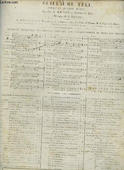 GUILLAUME TELL - OPERA EN 4 ACTES N°10 -  POUR PIANO ET CHANT.