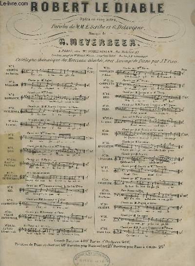 ROBERT LE DIABLE N°2 - OPERA EN 5 ACTES POUR PIANO ET CHANT.