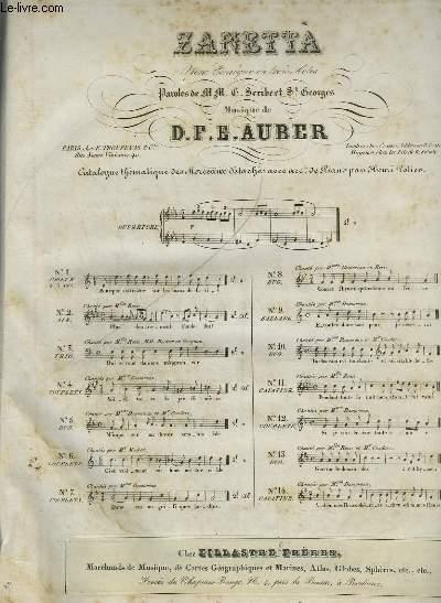 ZANETTA - OPERA COMIQUE EN 3 ACTES POUR PIANO ET CHANT.