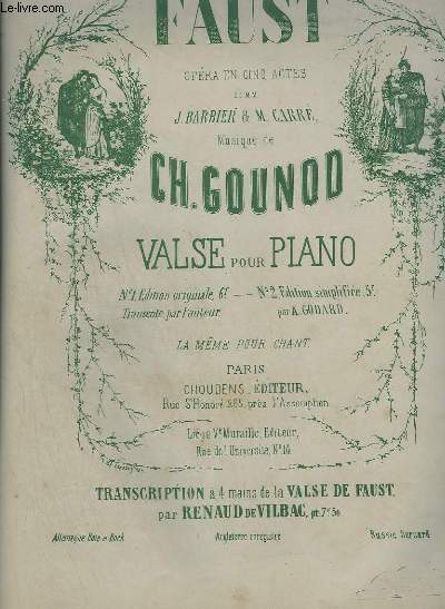 FAUST - VALSE POUR PIANO A 4 MAINS - EDITION SIMPLIFIEE.