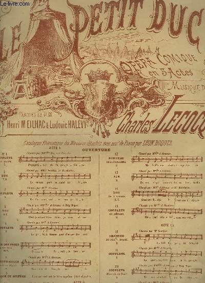 LE PETIT DUC - OPERA COMIQUE EN 3 ACTES N°12 POUR PIANO ET CHANT.