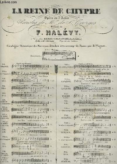 LA REINE DE CHYPRE - OPERA EN 5 ACTES N°6 BIS : AIR POUR PIANO ET CHANT.
