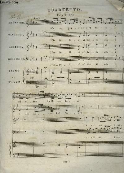 QUATUOR DE TANCREDE - PIANO OU HARPE + CHANT A 4 VOIX.