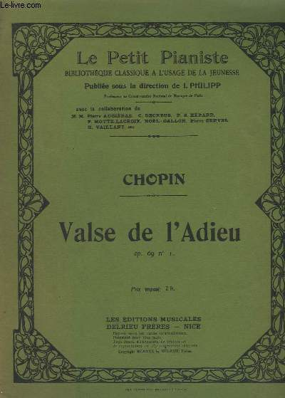 VALSE DE L'ADIEU - POUR PIANO.