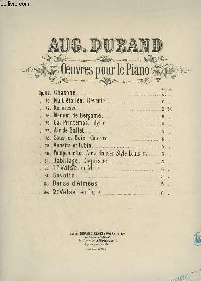 OEUVRE POUR LE PIANO OP.83 : 1° VALSE.