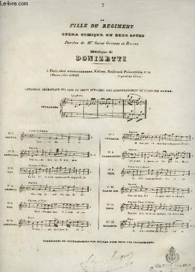 LA FILLE DU REGIMENT - OPERA COMIQUE EN 2 ACTES N°7 : ROMANCE POUR PIANO ET CHANT.