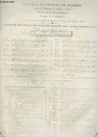 ZAMPA OU LA FIANCEE DE MARBRE - N°1 POUR PIANO ET CHANT.