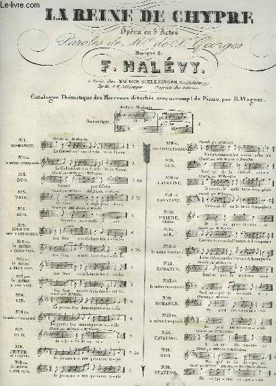 LA REINE DE CHYPRE - N°13 BIS : ROMANCE POUR PIANO ET CHANT.