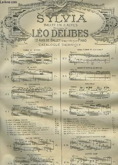 SYLVIA - N°10 : LA NYMPHE DE DIANE - POUR PIANO.