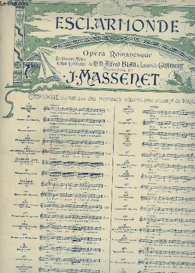 ESCLARMONDE - OPERA ROMANESQUE N°13 : AIR POUR PIANO ET CHANT.