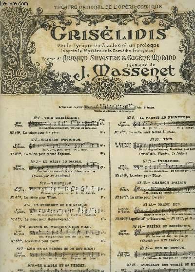 GRISELIDIS - N°9 : IL PARTITN AU PRINTEMPS - POUR PIANO ET CHANT SOPRANO.