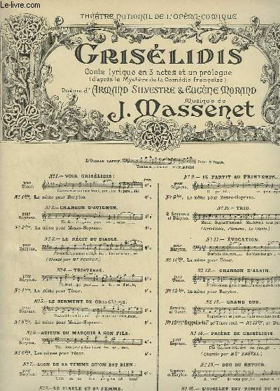 GRISELIDIS - N°5 : LE SERMENT DE GRISELIDIS - POUR PIANO ET CHANT SOPRANO.
