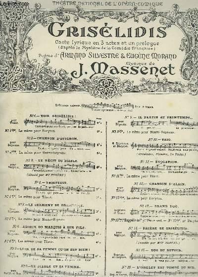 GRISELIDIS - N°2 : CHANSON D'AVIGNON - POUR PIANO ET CHANT SOPRANO.