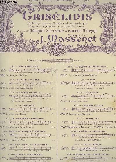 GRISELIDIS - N°1 : VOIR GRISELIDIS ! - POUR PIANO ET CHANT TENOR.