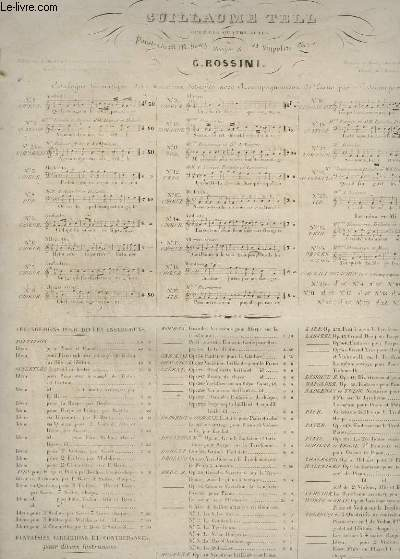 GUILLAUME TELL - N°11 POUR PIANO ET CHANT.
