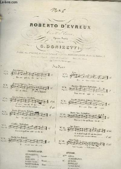 ROBERTO D'EVREUX - N°6 : SCENA E DUETTO PIANO + CHANT.