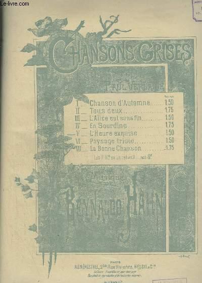 CHANSONS GRISES - N°5 : L'HEURE EXQUISE - PIANO ET CHANT.