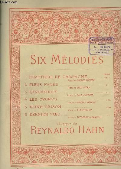 SIX MELODIES - N°1 : CIMETIERE DE CAMPAGNE - POUR PIANO ET CHANT.