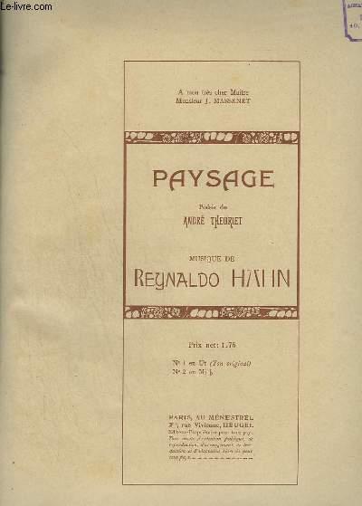 PAYSAGE - N°1 : PIANO ET CHANT EN UT - TON ORIGINAL.